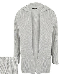 River Island Grey Knitted Ribbed Hooded Cardigan
