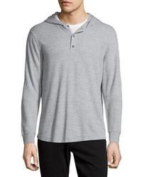 Long sleeve waffle knit hoodie heather grey medium 739466