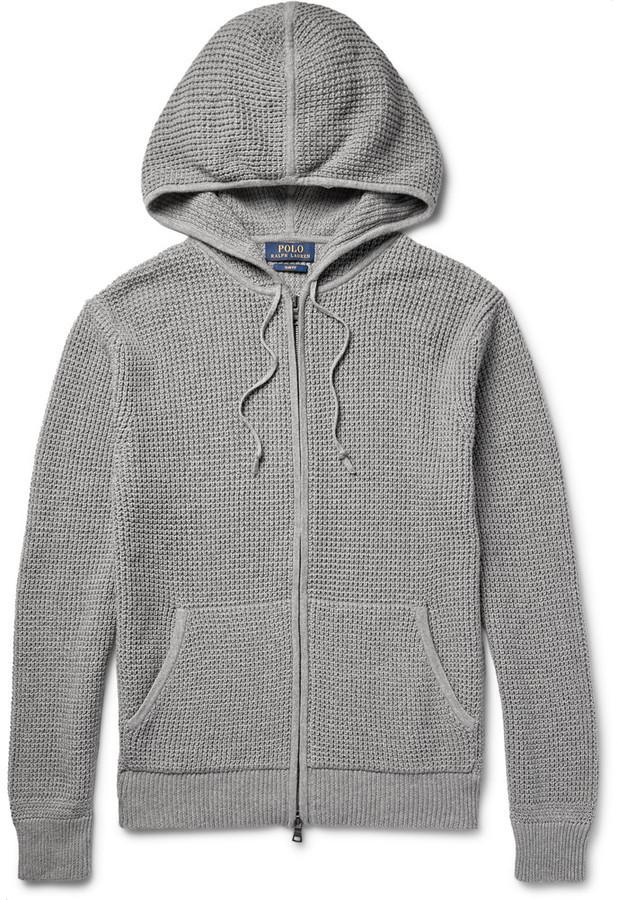 Men\u0027s Fashion \u203a Sweaters \u203a Hoodies \u203a Grey Knit Hoodies Polo Ralph Lauren  Polo Ralph Lauren Waffle-Knit Cotton and Cashmere-Blend Zip-