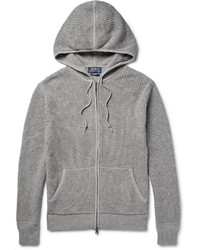 Polo Ralph Lauren Waffle Knit Cotton And Cashmere Blend Zip Up Hoodie