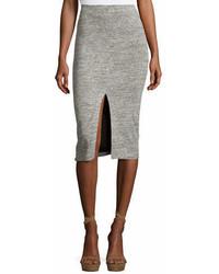 Alice + Olivia Spiga Slit Front Knit Midi Pencil Skirt Gray