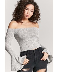 LOVE21 Love 21 Metallic Off The Shoulder Crop Top