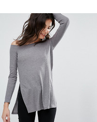 Asos Petite Petite Off Shoulder Slouchy Top With Side Splits