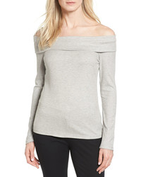 Halogen Rib Knit Off The Shoulder Top