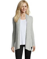 Hayden Black Cashmere Cable Knit Open Front Cardigan