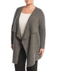 Neiman Marcus Cashmere Cable Knit Cardigan Plus Size
