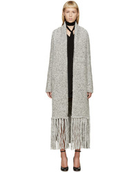Chloé Grey Oversized Tweedy Scarf Cardigan