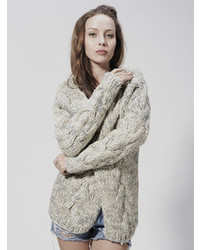 Choies Celebona Heavy Cable Knit Cardigan