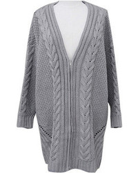 Choies Grey Cable Cardigan With Deep V Neck