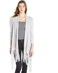Love Stitch Fog Grey Cotton Blend Knit Fringed Long Cardigan