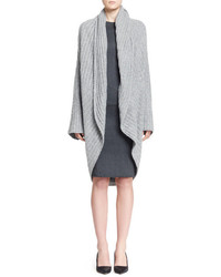 The Row Ilia Ribbed Cocoon Cardigan And Drista Long Sleeve Satin Dress