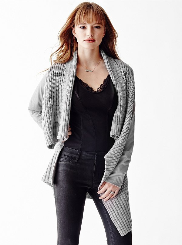 GUESS Long Sleeve Waterfall Cardigan | Where to buy & how to wear