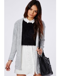 Missguided Aria Knitted Boyfriend Cardigan Grey