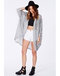 Missguided Ishara Grey Longline Knitted Cardigan