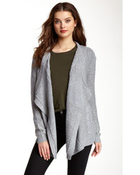 Love Stitch Mixed Knit Open Cardigan