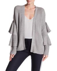 Modern Designer Long Ruffle Sleeve Knit Cardigan