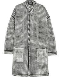 Karl Lagerfeld Oversized Boucl Knit Cardigan Gray