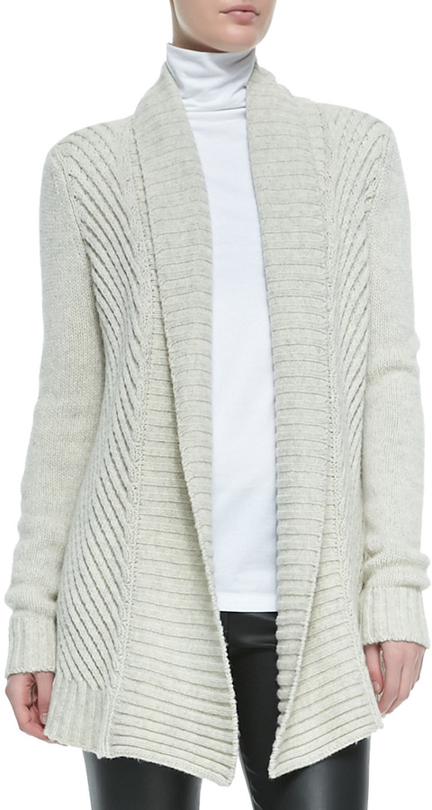 Vince Ribbed Open Front Knit Cardigan Soft Gray | Where to buy ...