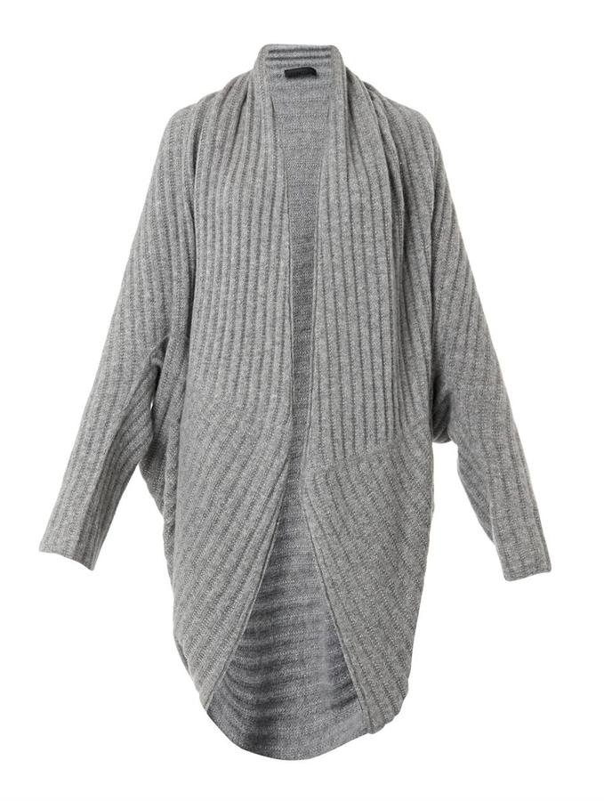 Grey Knit Open Cardigan: The Row Ilia Ribbed Knit Cocoon Cardigan Where to ...