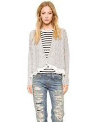 Clu Too Ruffled Cable Knit Cardigan
