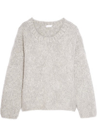 Chloé Oversized Mohair Wool And Cashmere Blend Sweater Gray
