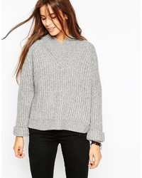 Asos Collection Chunky Rib Sweater With V Neck