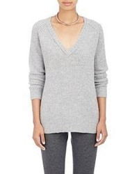 ATM Anthony Thomas Melillo Cozy Rib Knit V Neck Sweater Grey Size Na