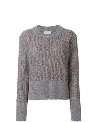 Prada Glitter Effect Rib Knitted Sweater