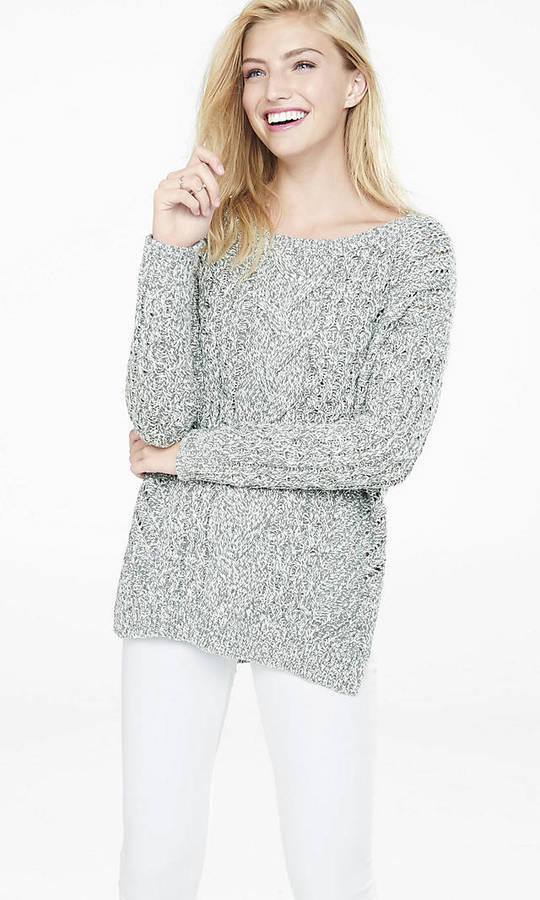 Marl Oversized Open Cable Knit Tunic Sweater | Where to buy & how ...