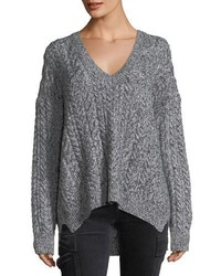 Vince Oversized Cable Knit V Neck Sweater