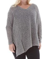 Plus Size Elvi Oversize Asymmetrical Open Stitch Sweater