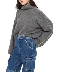 Topshop Roll Neck Crop Sweater