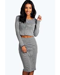 Boohoo Ailsa Contrast Knitted Rib Tube Midi Skirt