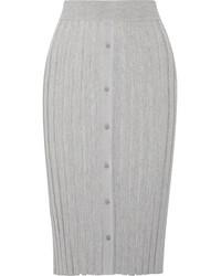 Burnet ribbed stretch knit midi skirt gray medium 4393199