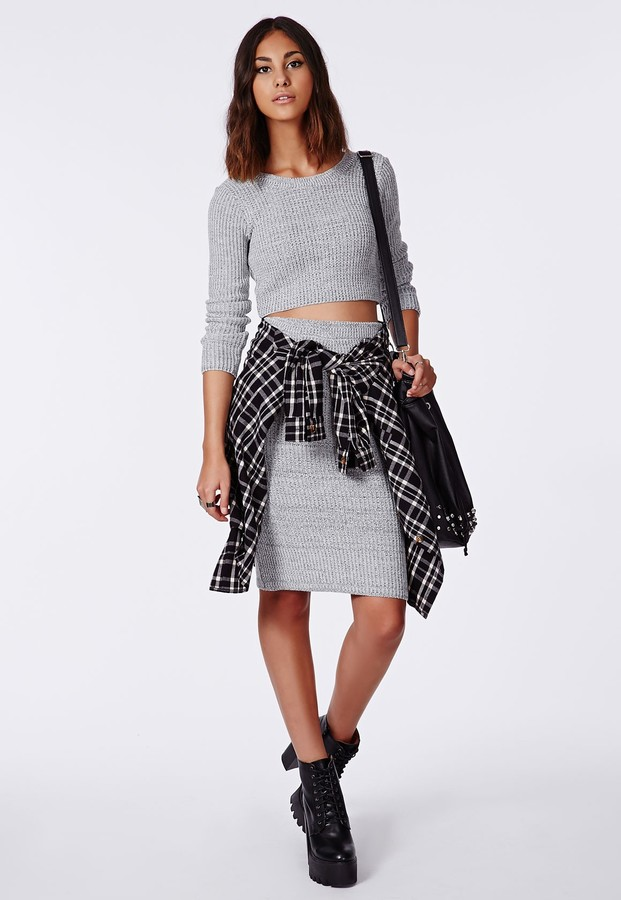 Missguided Madelynn Knit Midi Pencil Skirt Grey | Where to buy ...