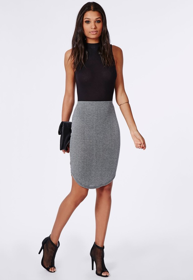 Missguided Ribbed Dolphin Hem Midi Skirt Grey | Where to buy & how ...