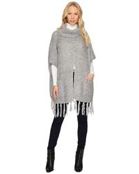 Steve Madden Fuzzy Knit Split Front Turtleneck Poncho Clothing
