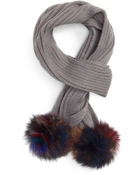 Jocelyn Knit Scarf With Genuine Fox Fur Poms