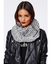 Missguided Felicity Contrast Knit Scarf Grey