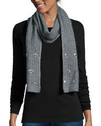 Mixit Mixit Reverse Jersey Embellished Oblong Knit Scarf
