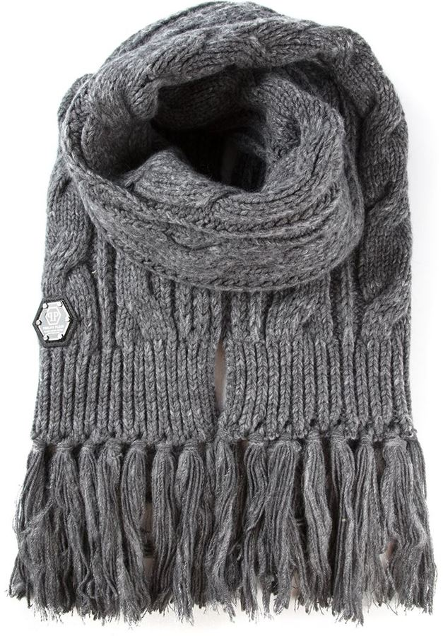 Philipp Plein Cable Knit Scarf 478 Farfetch Com Lookastic Com
