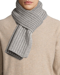 Portolano Two Tone Knit Scarf Ivorylight Gray