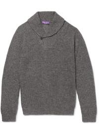 Ralph Lauren Purple Label Shawl Collar Waffle Knit Cashmere And Silk Blend Sweater
