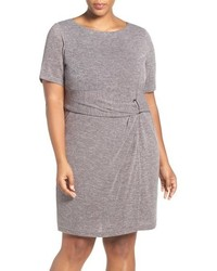 Plus size buckle detail knit sheath dress medium 760034