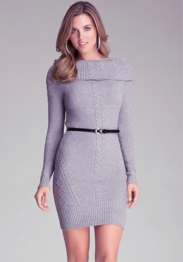 Bebe Sweater Dress129 Sweater Bebe Cable Belted Belted Cable Dress129 wO80nmNv