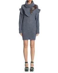 Miu Miu Cable Knit Embroidered Alpaca Sweater Dress