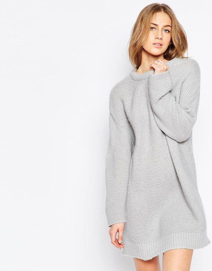 a7411306db3ab5 ... Grey Knit Sweater Dresses Asos Collection Oversized Sweater Dress In Chunky  Knit ...