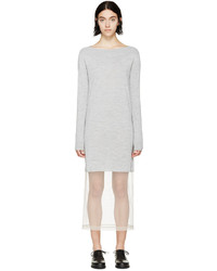 Maison Margiela Grey Knit Tulle Sweater Dress