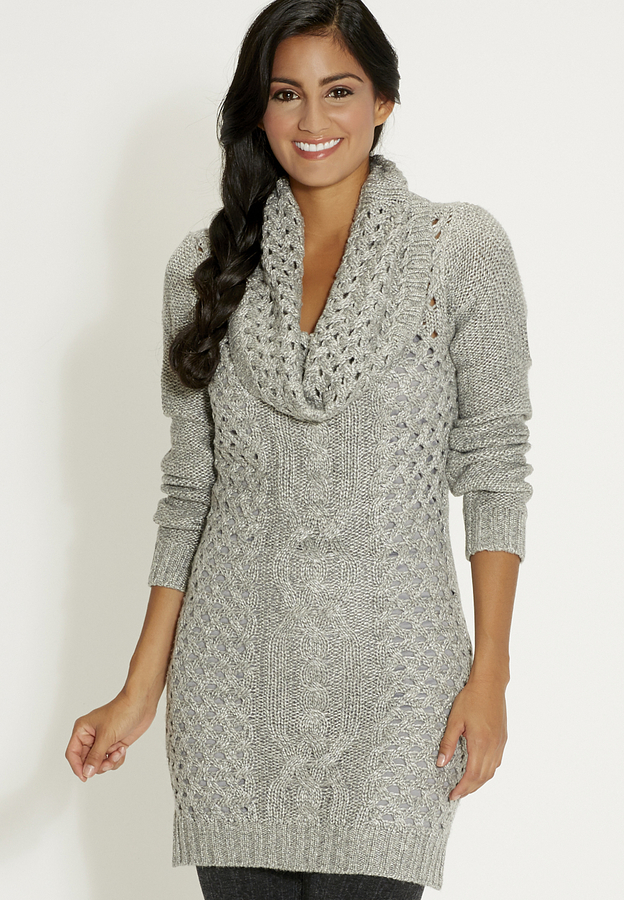 Maurices Cable Knit Sweater Dress With Cowl Neck In Gray | Where ...