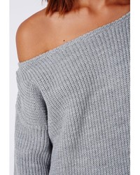 Missguided Ayvan Off Shoulder Knitted Sweater Dress Grey
